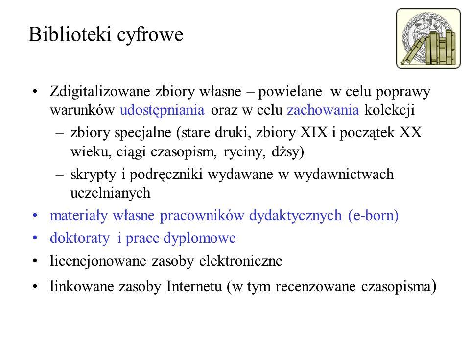 Biblioteki cyfrowe Zdigitalizowane zbiory własne – powielane w celu poprawy warunków udostępniania oraz w celu zachowania kolekcji –zbiory specjalne (