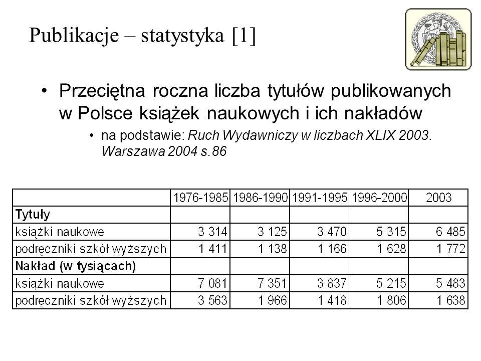 Publikacje – statystyka [1] Przeciętna roczna liczba tytułów publikowanych w Polsce książek naukowych i ich nakładów na podstawie: Ruch Wydawniczy w l