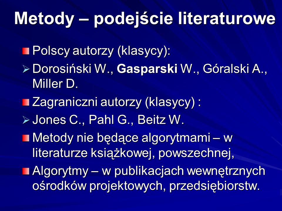 Metody – podejście literaturowe Polscy autorzy (klasycy):  Dorosiński W., Gasparski W., Góralski A., Miller D. Zagraniczni autorzy (klasycy) :  Jone