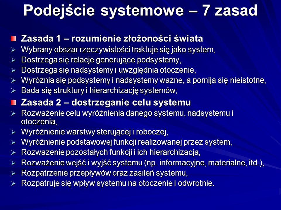 Podejście systemowe – 7 zasad Zasada 1 – rozumienie złożoności świata  Wybrany obszar rzeczywistości traktuje się jako system,  Dostrzega się relacj