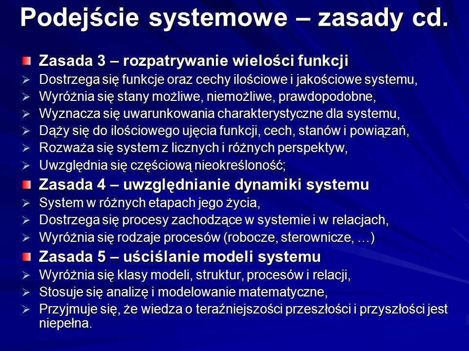 Podejście systemowe – zasady cd. Zasada 3 – rozpatrywanie wielości funkcji  Dostrzega się funkcje oraz cechy ilościowe i jakościowe systemu,  Wyróżn