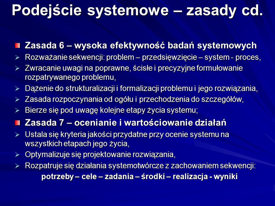 Podejście systemowe – zasady cd. Zasada 6 – wysoka efektywność badań systemowych  Rozważanie sekwencji: problem – przedsięwzięcie – system - proces,