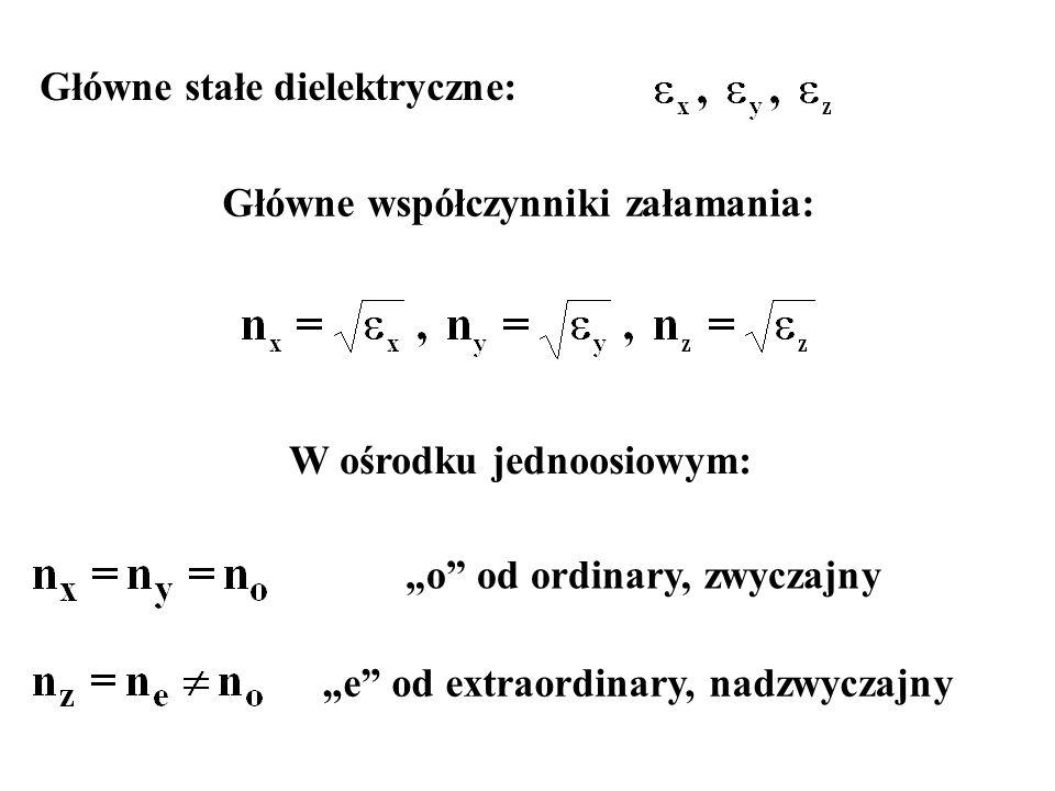 """Główne stałe dielektryczne: Główne współczynniki załamania: W ośrodku jednoosiowym: """"o"""" od ordinary, zwyczajny """"e"""" od extraordinary, nadzwyczajny"""