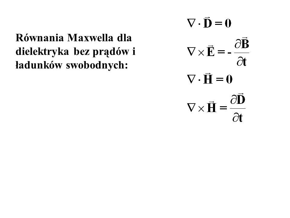 Równania Maxwella dla dielektryka bez prądów i ładunków swobodnych: