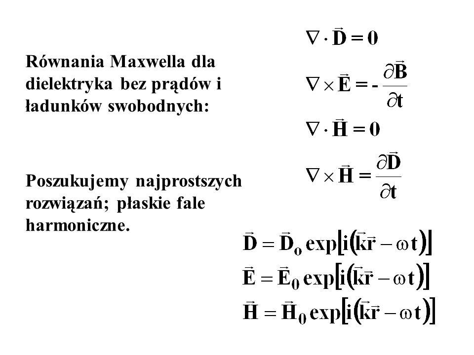 Poszukujemy najprostszych rozwiązań; płaskie fale harmoniczne.