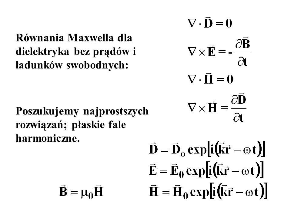 Równania Maxwella dla dielektryka bez prądów i ładunków swobodnych: Poszukujemy najprostszych rozwiązań; płaskie fale harmoniczne.