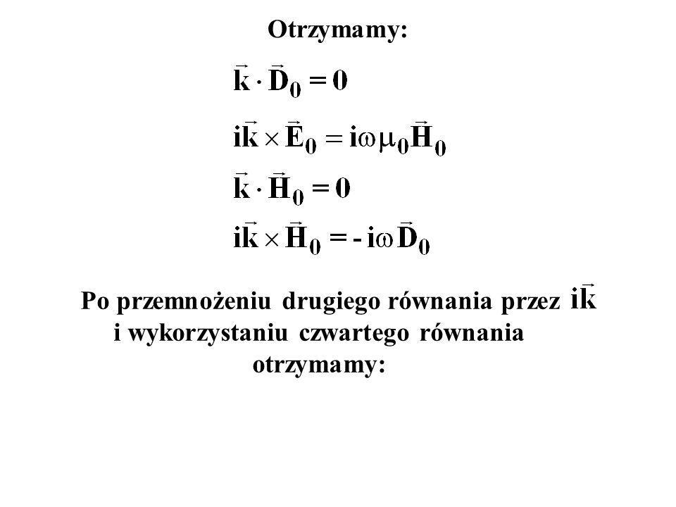Po przemnożeniu drugiego równania przez i wykorzystaniu czwartego równania otrzymamy: