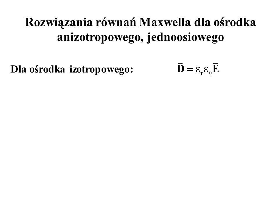 Rozwiązania równań Maxwella dla ośrodka anizotropowego, jednoosiowego Dla ośrodka izotropowego: