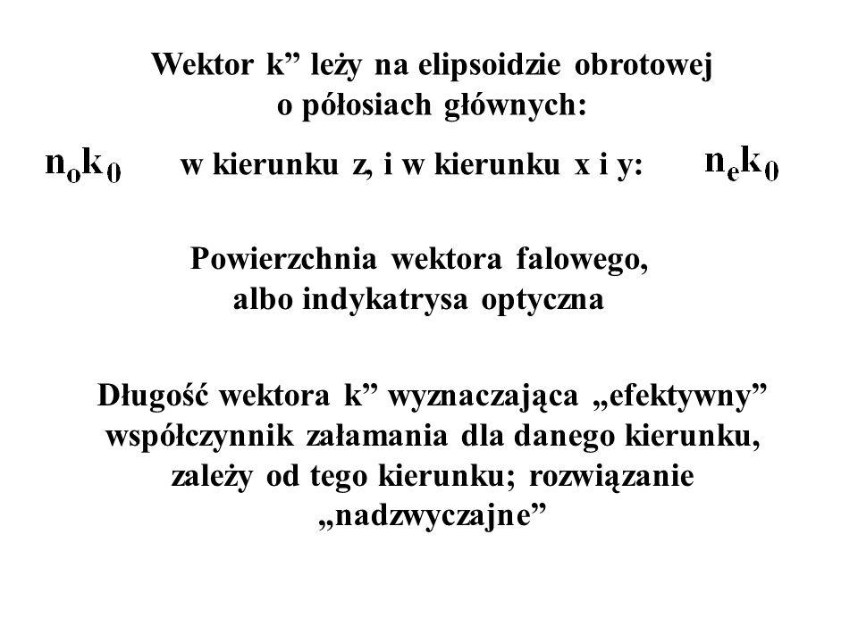 """w kierunku z, i w kierunku x i y: Wektor k'' leży na elipsoidzie obrotowej o półosiach głównych: Długość wektora k'' wyznaczająca """"efektywny"""" współczy"""