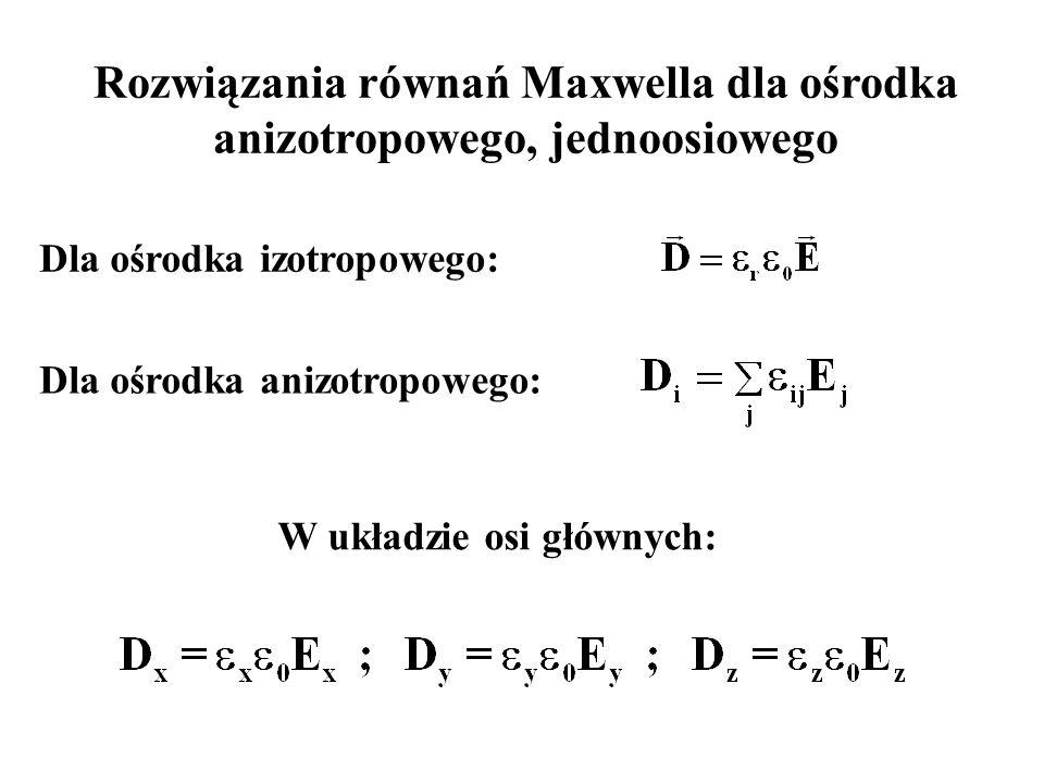 Rozwiązania równań Maxwella dla ośrodka anizotropowego, jednoosiowego Dla ośrodka izotropowego: Dla ośrodka anizotropowego: W układzie osi głównych: