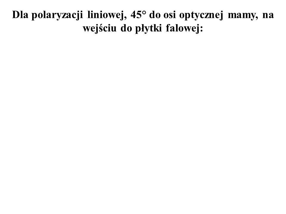 Dla polaryzacji liniowej, 45° do osi optycznej mamy, na wejściu do płytki falowej: