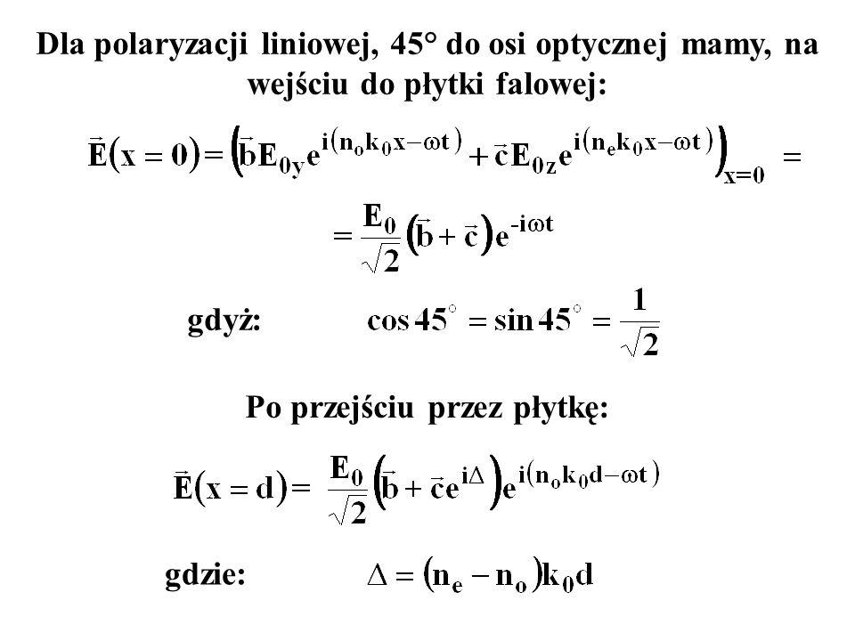 Dla polaryzacji liniowej, 45° do osi optycznej mamy, na wejściu do płytki falowej: gdyż: Po przejściu przez płytkę: gdzie: