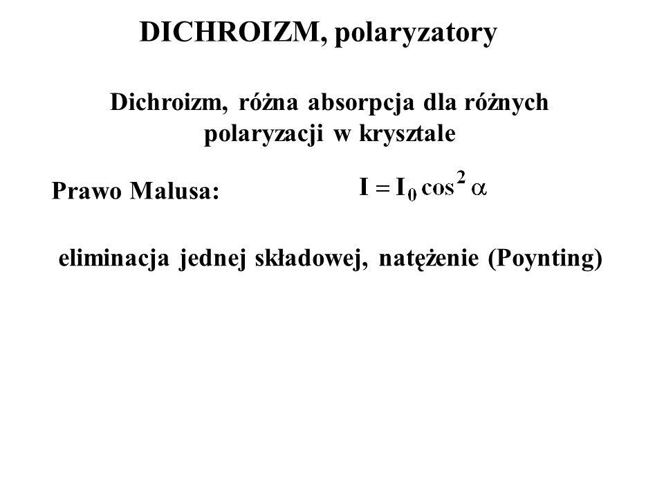 DICHROIZM, polaryzatory Dichroizm, różna absorpcja dla różnych polaryzacji w krysztale Prawo Malusa: eliminacja jednej składowej, natężenie (Poynting)