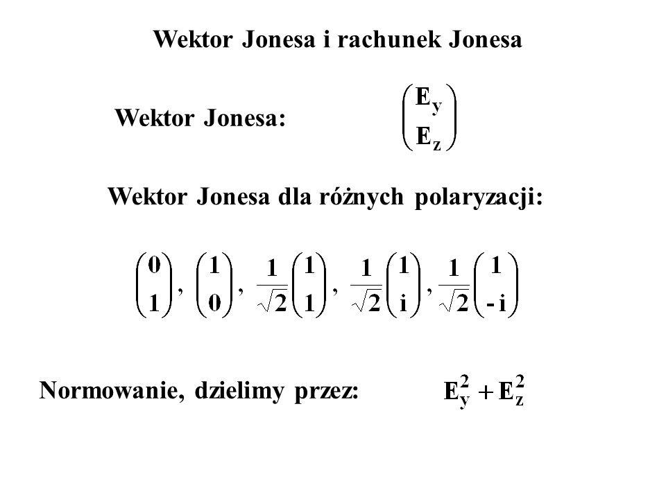 Wektor Jonesa: Wektor Jonesa i rachunek Jonesa Wektor Jonesa dla różnych polaryzacji: Normowanie, dzielimy przez: