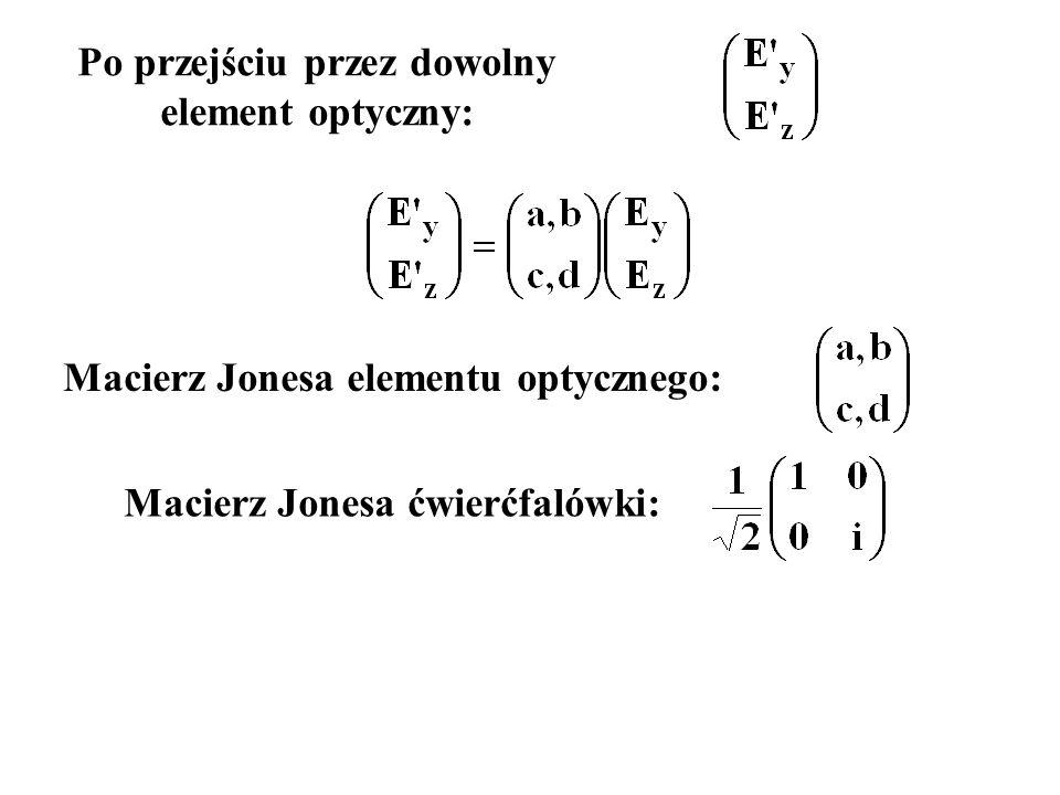 Po przejściu przez dowolny element optyczny: Macierz Jonesa elementu optycznego: Macierz Jonesa ćwierćfalówki: