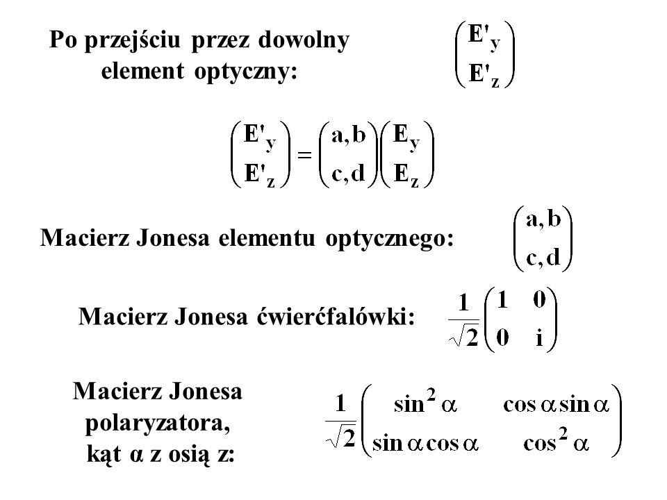Po przejściu przez dowolny element optyczny: Macierz Jonesa elementu optycznego: Macierz Jonesa ćwierćfalówki: Macierz Jonesa polaryzatora, kąt α z os