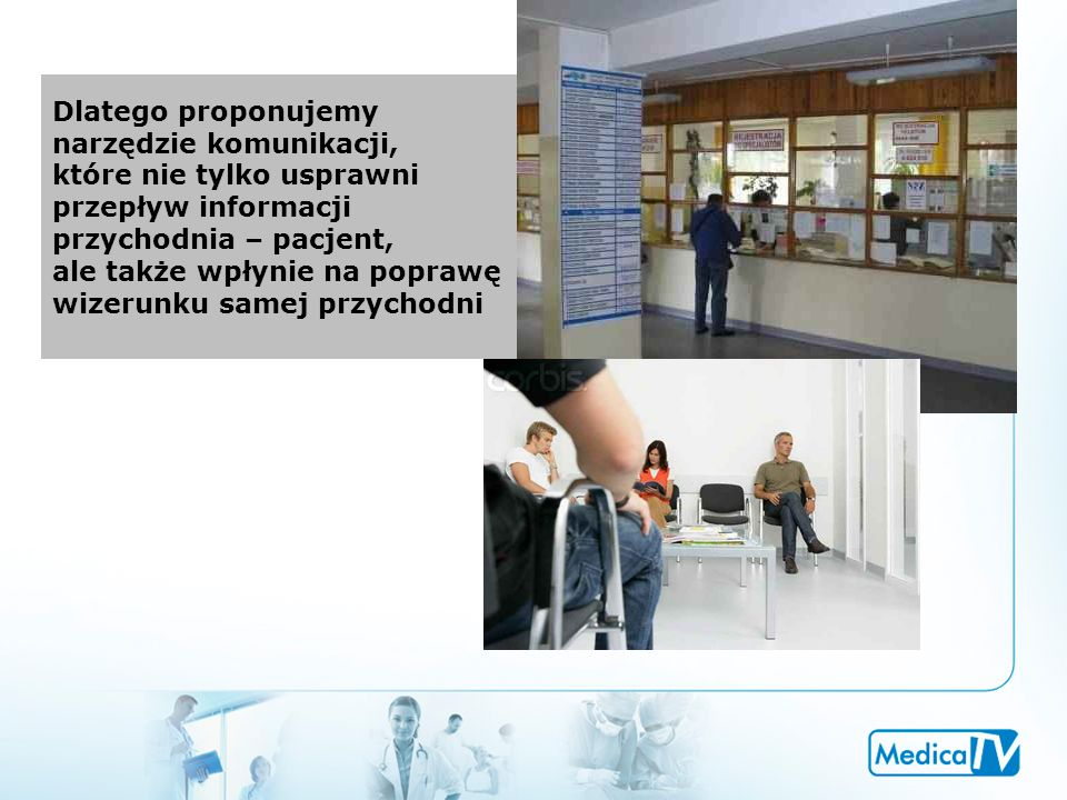 Dlatego proponujemy narzędzie komunikacji, które nie tylko usprawni przepływ informacji przychodnia – pacjent, ale także wpłynie na poprawę wizerunku