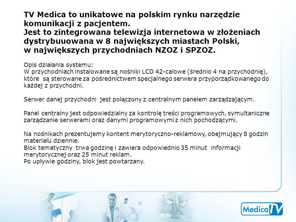 TV Medica to unikatowe na polskim rynku narzędzie komunikacji z pacjentem. Jest to zintegrowana telewizja internetowa w złożeniach dystrybuuowana w 8