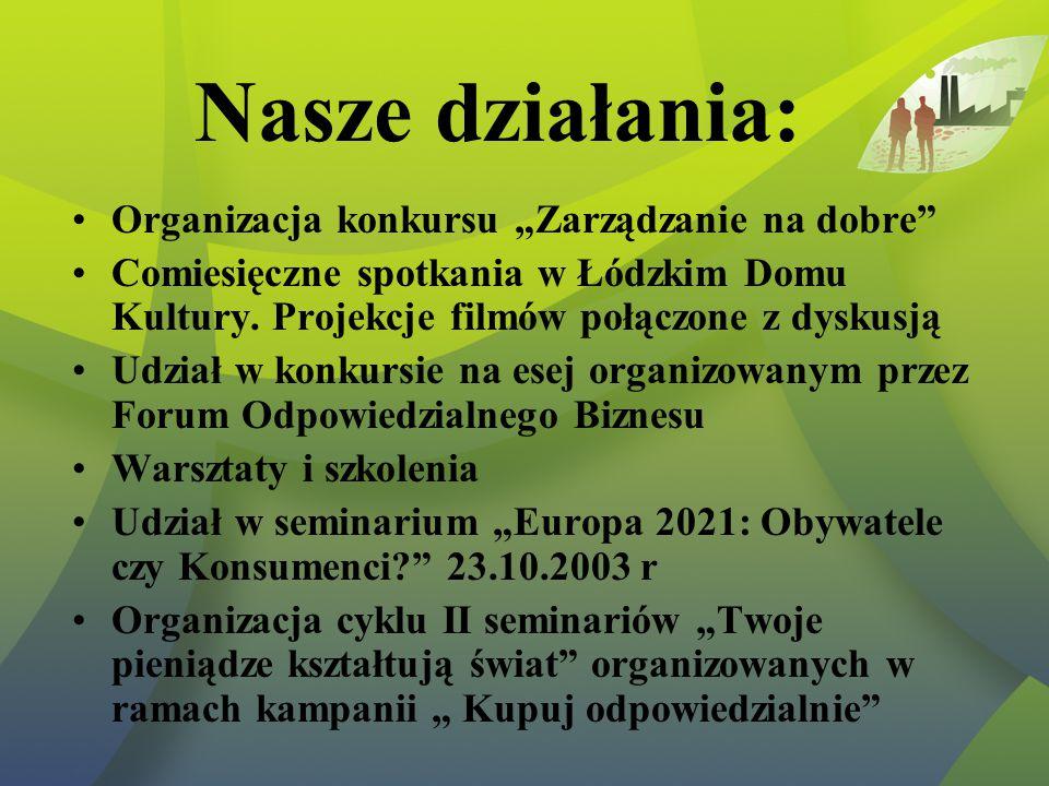 """Nasze działania: Organizacja konkursu """"Zarządzanie na dobre Comiesięczne spotkania w Łódzkim Domu Kultury."""