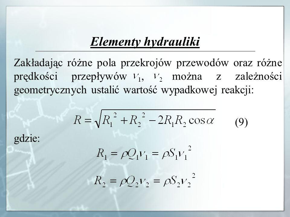 Elementy hydrauliki Zakładając różne pola przekrojów przewodów oraz różne prędkości przepływów, można z zależności geometrycznych ustalić wartość wypa