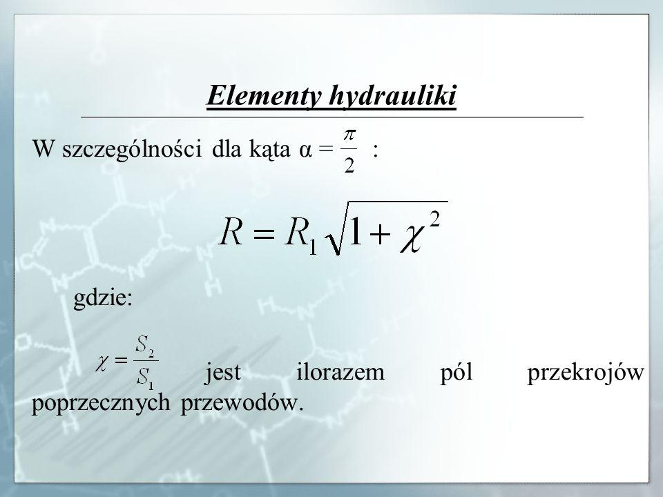 Elementy hydrauliki W szczególności dla kąta α = : gdzie: jest ilorazem pól przekrojów poprzecznych przewodów.