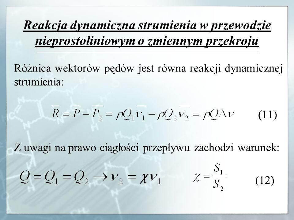 Reakcja dynamiczna strumienia w przewodzie nieprostoliniowym o zmiennym przekroju Różnica wektorów pędów jest równa reakcji dynamicznej strumienia: (1
