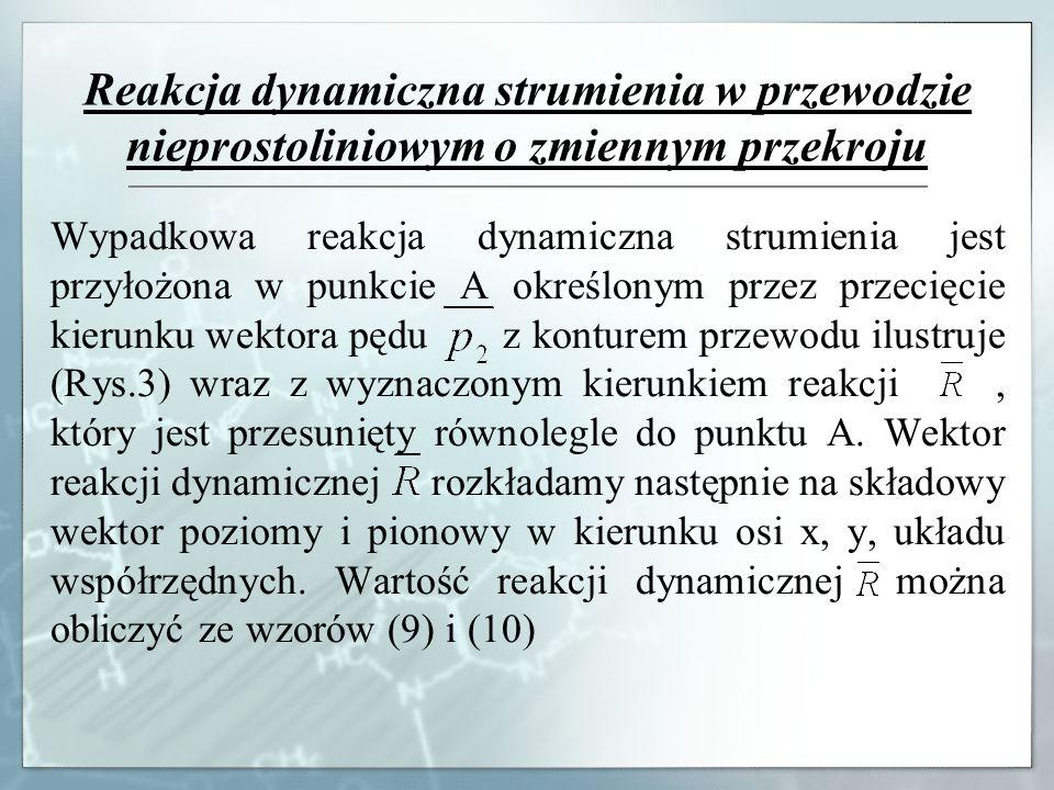 Reakcja dynamiczna strumienia w przewodzie nieprostoliniowym o zmiennym przekroju Wypadkowa reakcja dynamiczna strumienia jest przyłożona w punkcie A