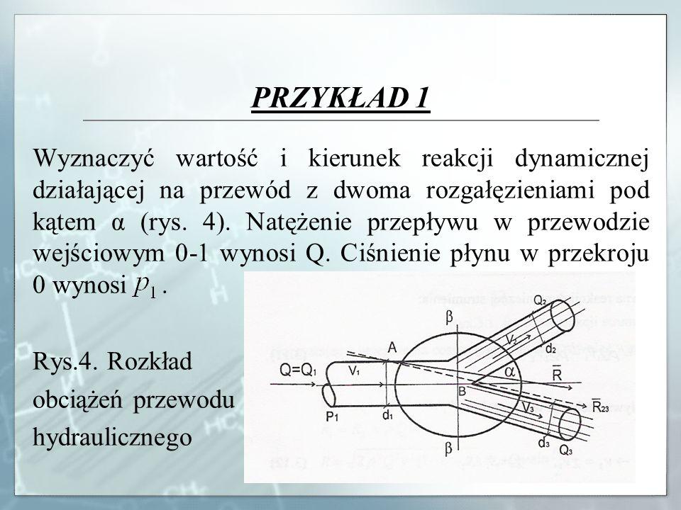 Wyznaczyć wartość i kierunek reakcji dynamicznej działającej na przewód z dwoma rozgałęzieniami pod kątem α (rys. 4). Natężenie przepływu w przewodzie