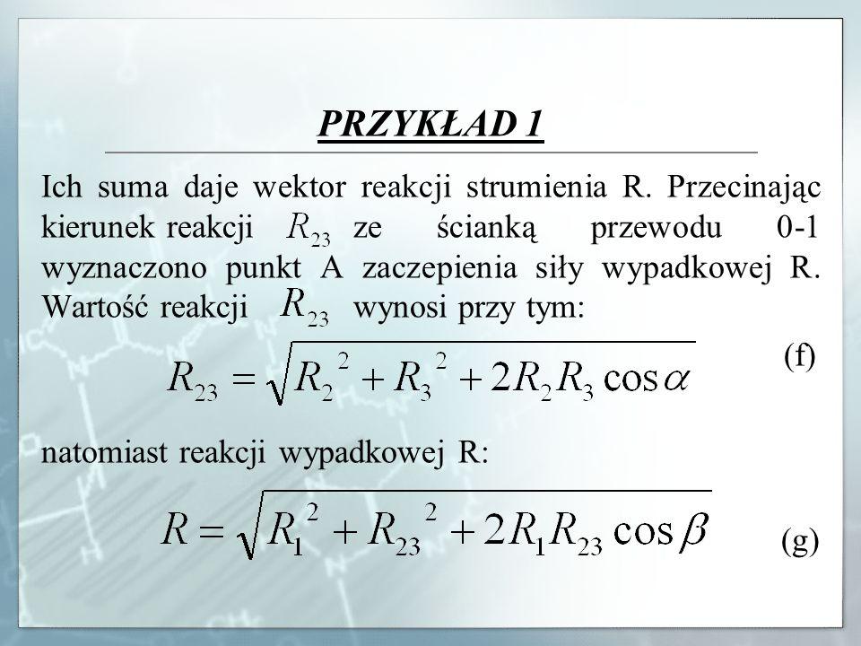 PRZYKŁAD 1 Ich suma daje wektor reakcji strumienia R. Przecinając kierunek reakcji ze ścianką przewodu 0-1 wyznaczono punkt A zaczepienia siły wypadko