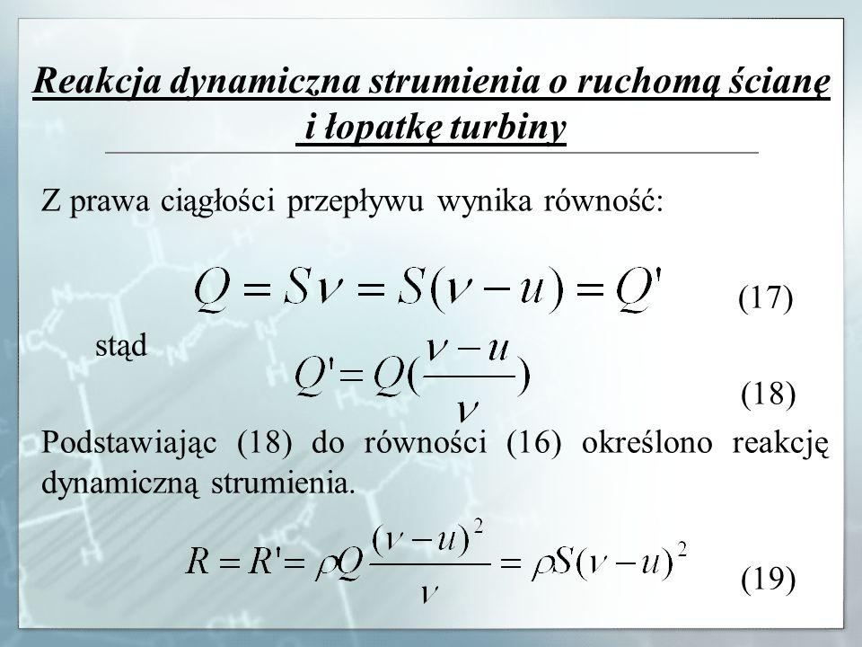 Reakcja dynamiczna strumienia o ruchomą ścianę i łopatkę turbiny Z prawa ciągłości przepływu wynika równość: (17) stąd (18) Podstawiając (18) do równo