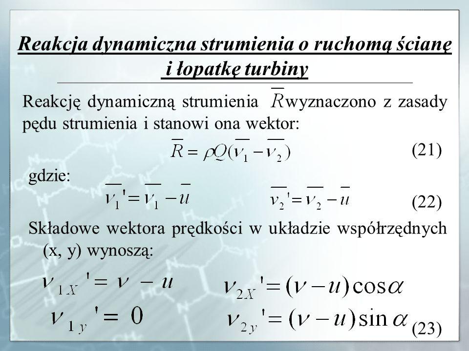 Reakcja dynamiczna strumienia o ruchomą ścianę i łopatkę turbiny Reakcję dynamiczną strumienia wyznaczono z zasady pędu strumienia i stanowi ona wekto