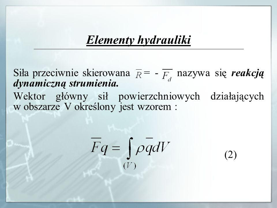Elementy hydrauliki Siła przeciwnie skierowana = - nazywa się reakcją dynamiczną strumienia. Wektor główny sił powierzchniowych działających w obszarz