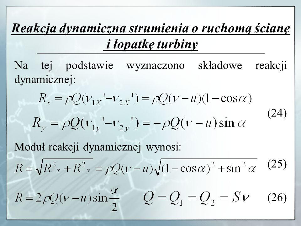 Reakcja dynamiczna strumienia o ruchomą ścianę i łopatkę turbiny Na tej podstawie wyznaczono składowe reakcji dynamicznej: (24) Moduł reakcji dynamicz