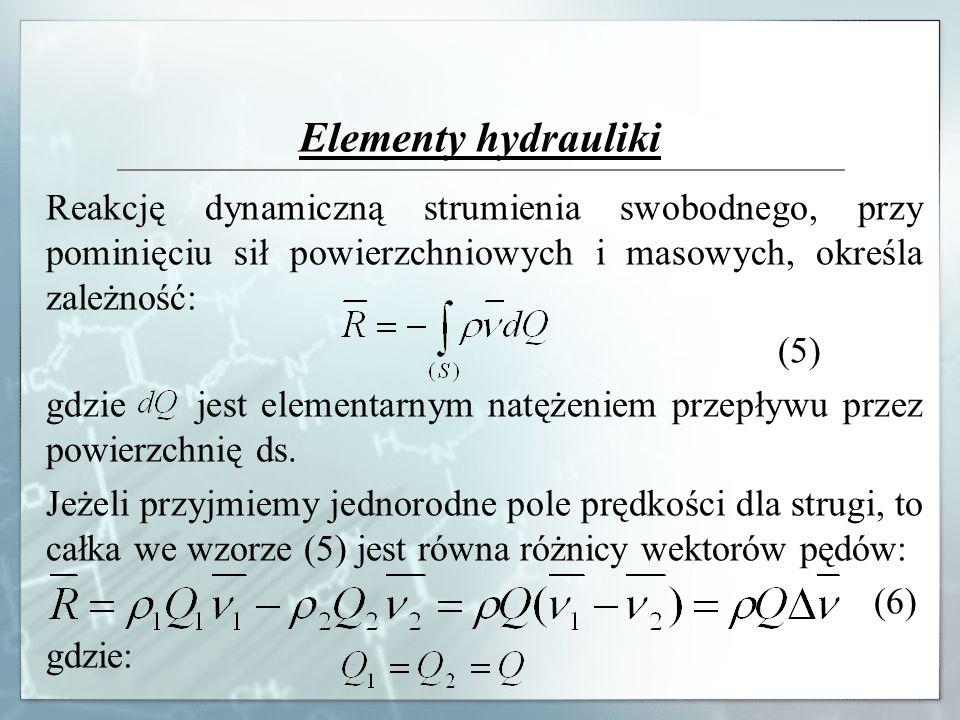 Elementy hydrauliki Reakcję dynamiczną strumienia swobodnego, przy pominięciu sił powierzchniowych i masowych, określa zależność: (5) gdzie jest eleme