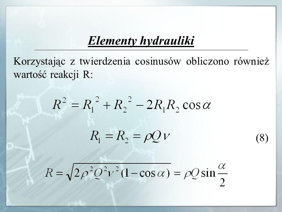 Elementy hydrauliki Korzystając z twierdzenia cosinusów obliczono również wartość reakcji R: (8)