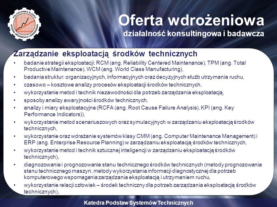 Katedra Podstaw Systemów Technicznych Oferta wdrożeniowa działalność konsultingowa i badawcza Zarządzanie eksploatacją środków technicznych badanie st