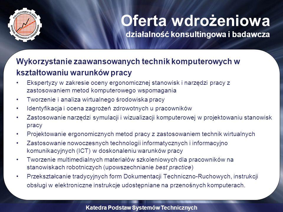 Katedra Podstaw Systemów Technicznych Oferta wdrożeniowa działalność konsultingowa i badawcza Wykorzystanie zaawansowanych technik komputerowych w ksz