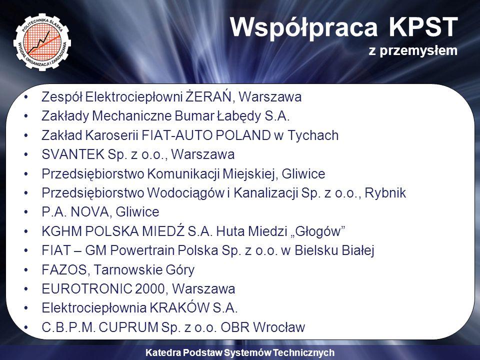 Katedra Podstaw Systemów Technicznych Współpraca KPST z przemysłem Zespół Elektrociepłowni ŻERAŃ, Warszawa Zakłady Mechaniczne Bumar Łabędy S.A. Zakła
