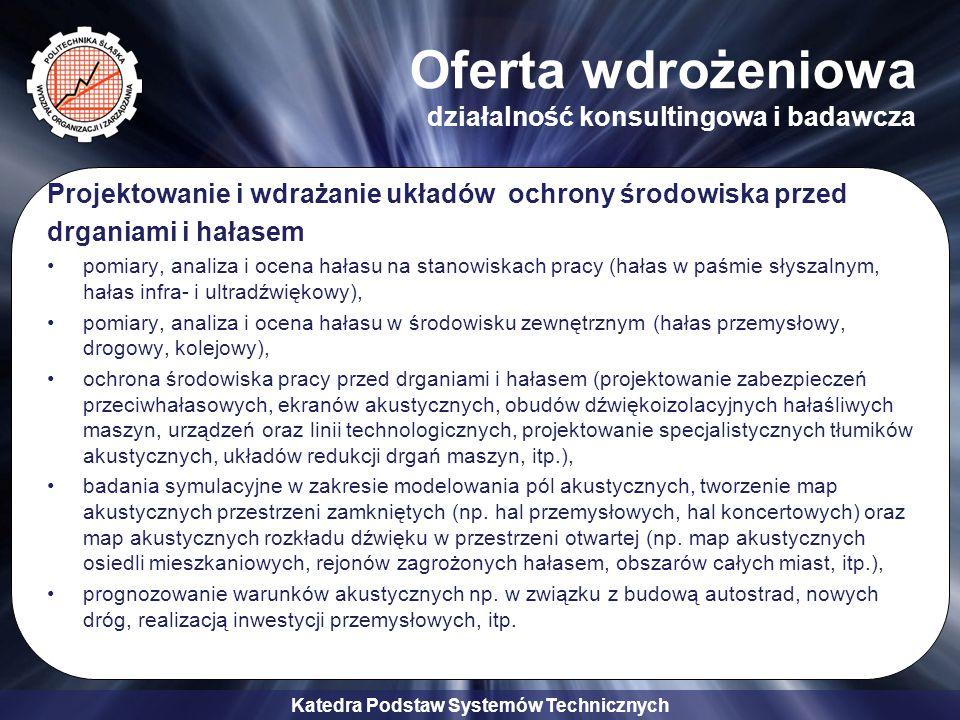 Katedra Podstaw Systemów Technicznych Oferta wdrożeniowa działalność konsultingowa i badawcza Projektowanie i wdrażanie układów ochrony środowiska prz