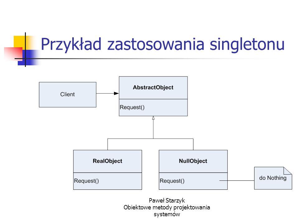 Paweł Starzyk Obiektowe metody projektowania systemów Przykład zastosowania singletonu