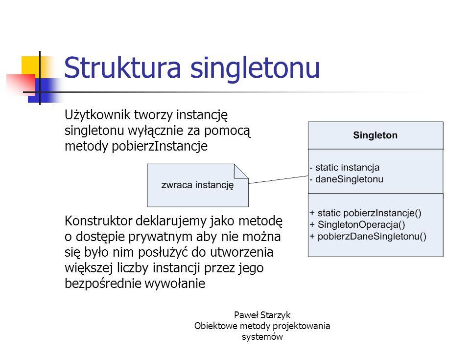 Paweł Starzyk Obiektowe metody projektowania systemów Struktura singletonu Użytkownik tworzy instancję singletonu wyłącznie za pomocą metody pobierzIn