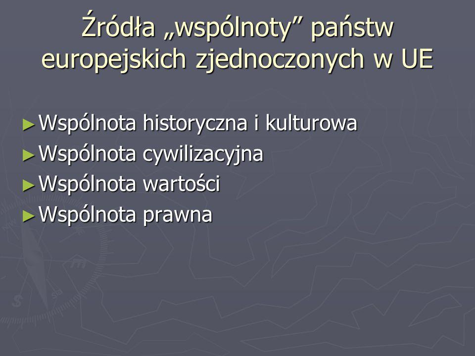 """Źródła """"wspólnoty"""" państw europejskich zjednoczonych w UE ► Wspólnota historyczna i kulturowa ► Wspólnota cywilizacyjna ► Wspólnota wartości ► Wspólno"""