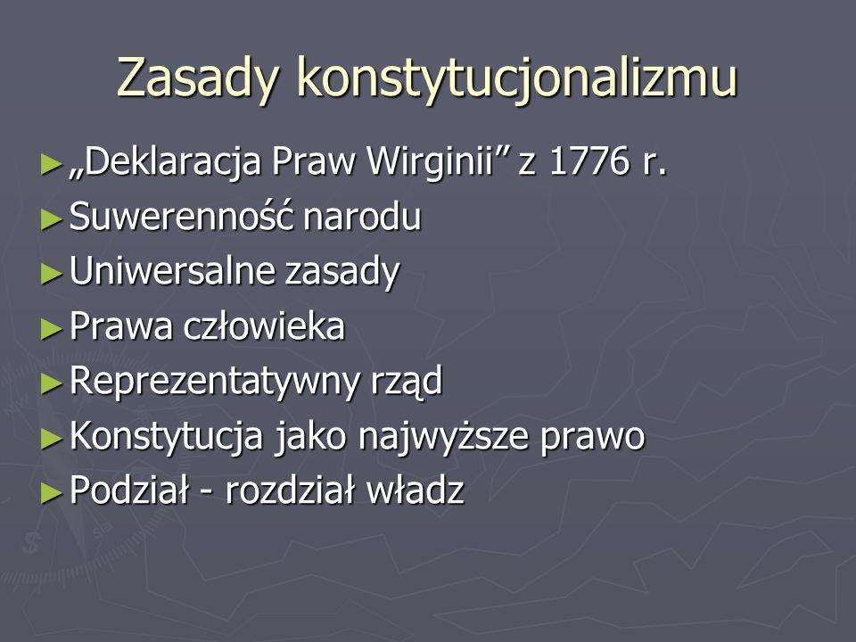 """Zasady konstytucjonalizmu ► """"Deklaracja Praw Wirginii z 1776 r."""