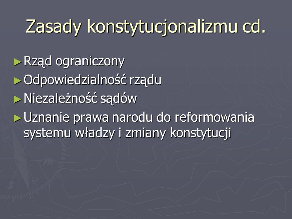 Zasady konstytucjonalizmu cd. ► Rząd ograniczony ► Odpowiedzialność rządu ► Niezależność sądów ► Uznanie prawa narodu do reformowania systemu władzy i
