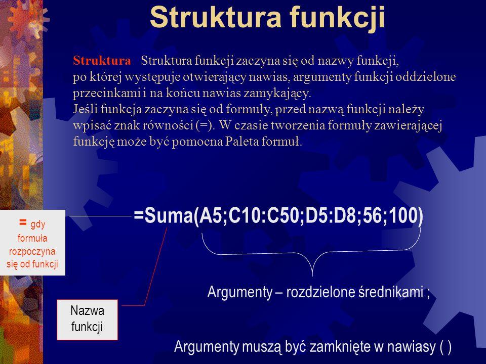 Funkcje Funkcje są wstępnie zdefiniowanymi formułami wykonującymi obliczenia z wykorzystaniem określonych wartości nazywanych argumentami i w konkretnym porządku nazywanym składnią.