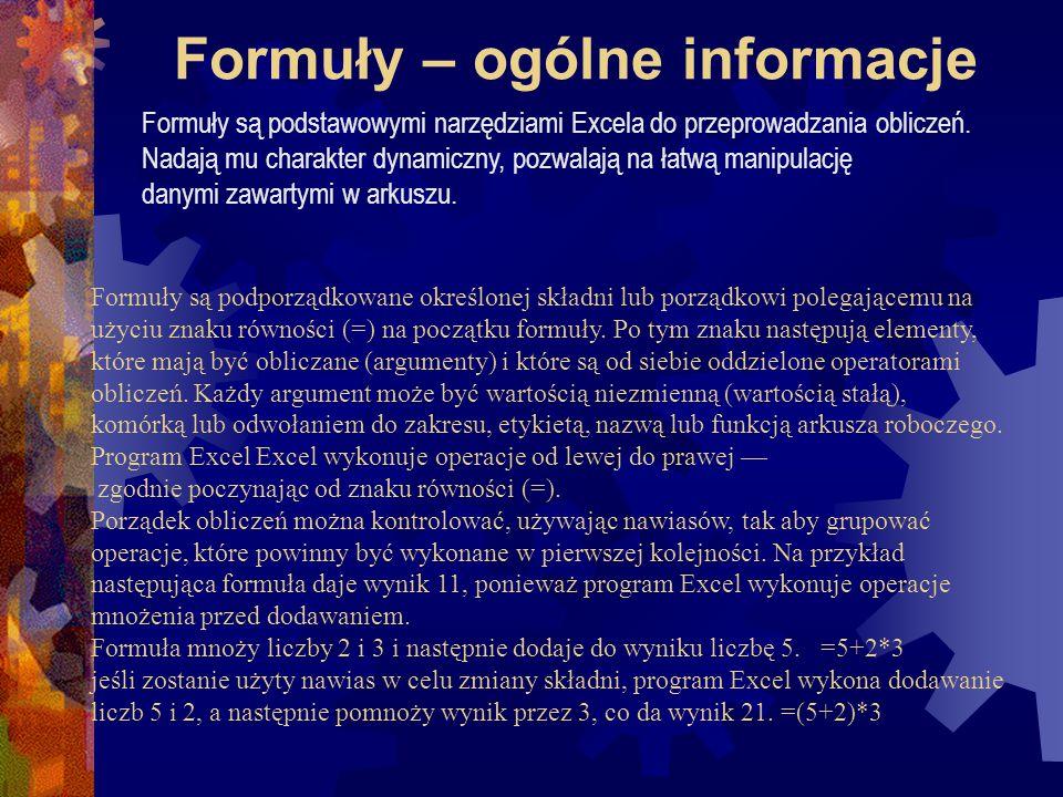 Wykład 6 – formuły Excela 2000
