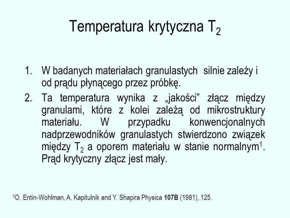"""Temperatura krytyczna T 2 1.W badanych materiałach granulastych silnie zależy i od prądu płynącego przez próbkę. 2.Ta temperatura wynika z """"jakości"""" z"""
