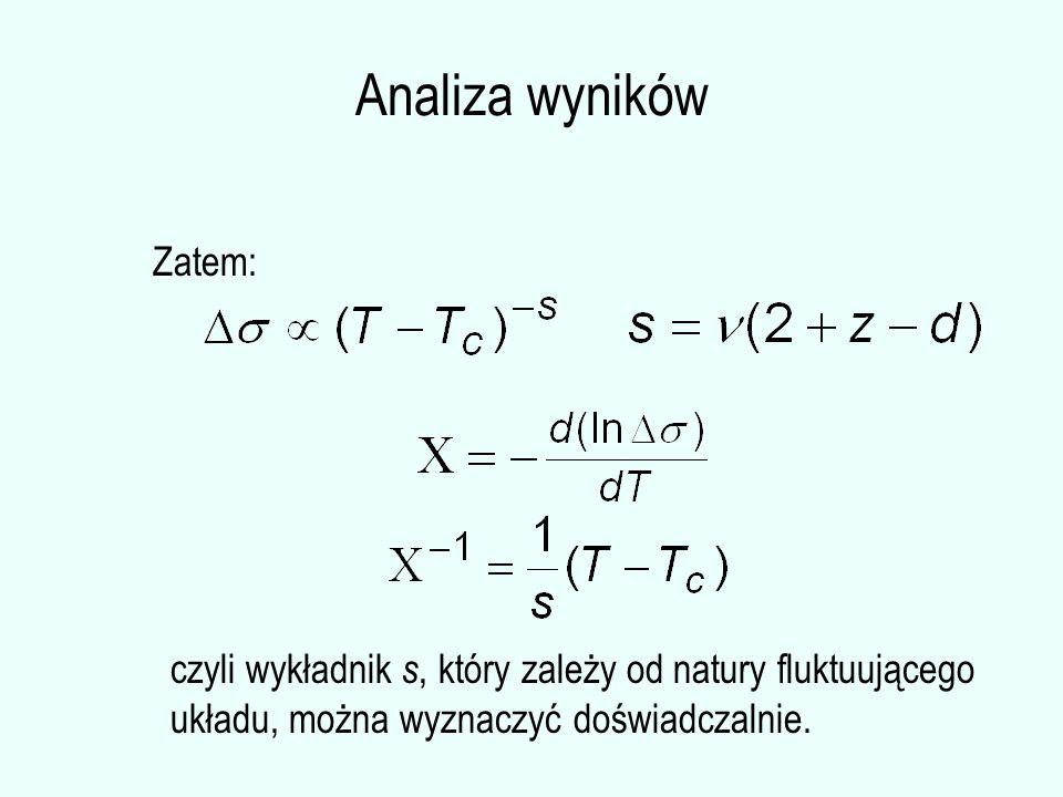 Analiza wyników Zatem: czyli wykładnik s, który zależy od natury fluktuującego układu, można wyznaczyć doświadczalnie.