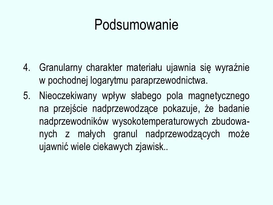 Podsumowanie 4.Granularny charakter materiału ujawnia się wyraźnie w pochodnej logarytmu paraprzewodnictwa.