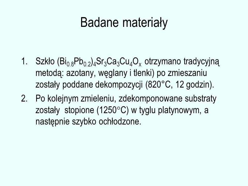 Badane materiały 1.Szkło (Bi 0.8 Pb 0.2 ) 4 Sr 3 Ca 3 Cu 4 O x otrzymano tradycyjną metodą: azotany, węglany i tlenki) po zmieszaniu zostały poddane d